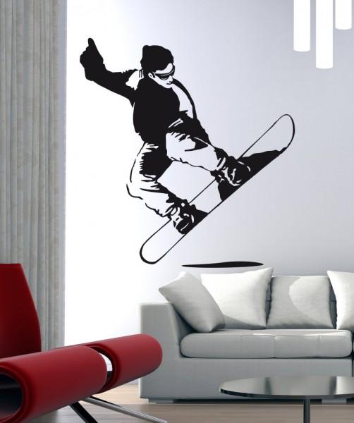 Wandtattoo Snowboarder Motiv #96 - Schwarz