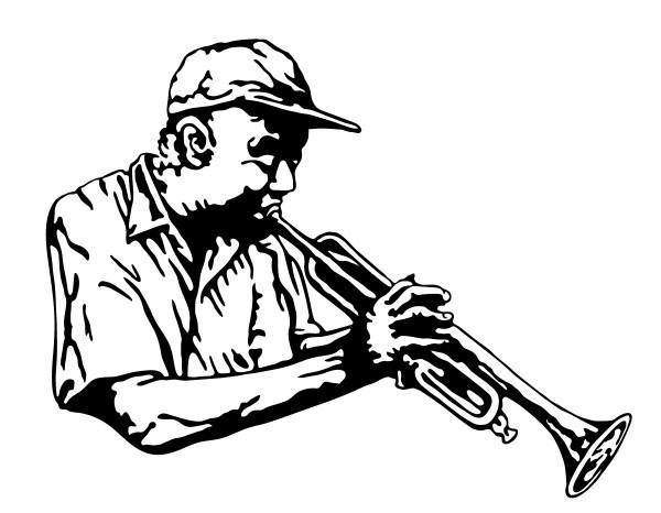 Wandtattoo Trompeter Motiv #119 - Schwarz