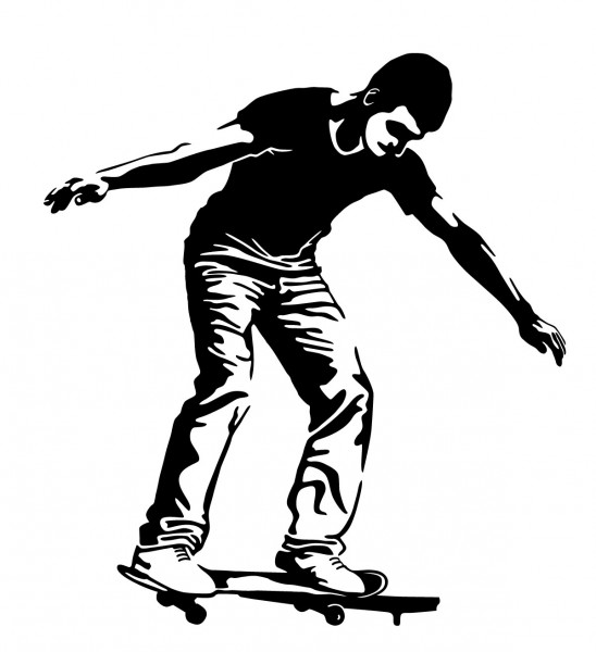 Wandtattoo Skater Motiv #117B - Schwarz