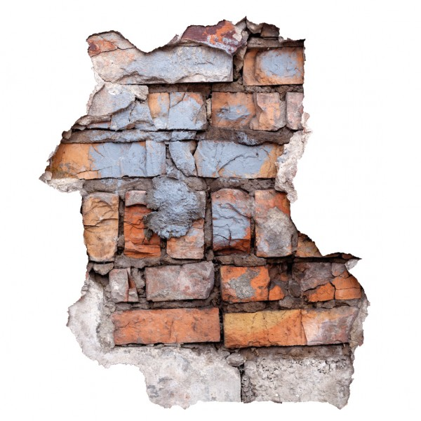 Wandtattoo Ziegelwand Durchbruch 60 x 70cm farbig #124