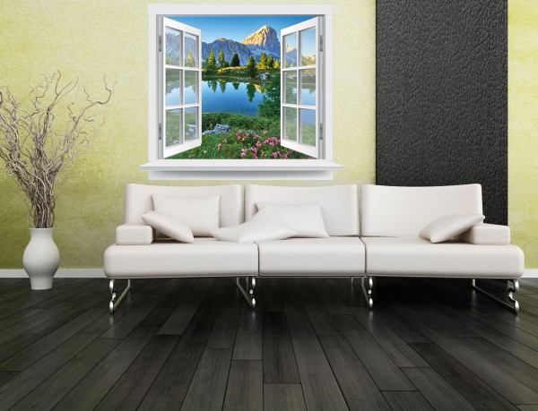 Fenster Berglandschaft farbig 120 x 102cm Motiv #141