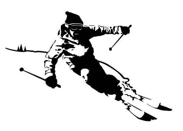 Skifahrer Alpin Motiv #94 - Schwarz