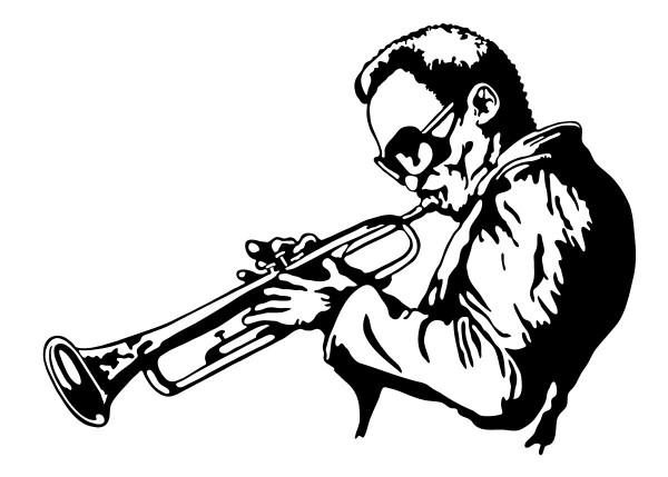 Wandtattoo Trompeter Motiv #131 - Schwarz