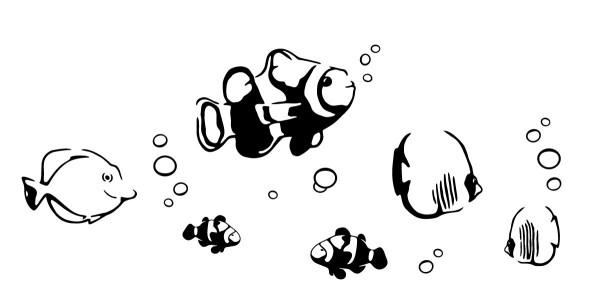 Wandtattoo Fische #172 - Schwarz
