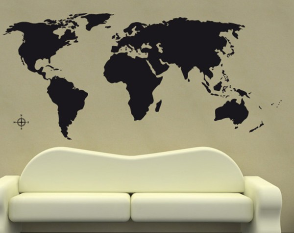 Weltkarte Erde Motiv #312 - Schwarz