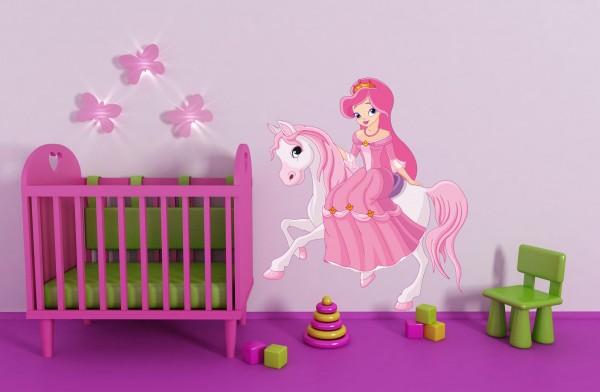 Wandtattoo Prinzessin auf Pony farbig Motiv #117