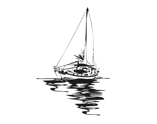 Wandtattoo Segelboot Motiv #206 - Schwarz