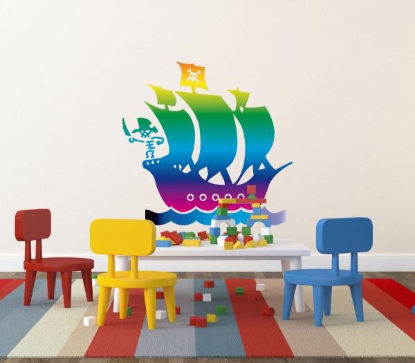 Wandtattoo Piratenschiff Regenbogen farbig Motiv #122