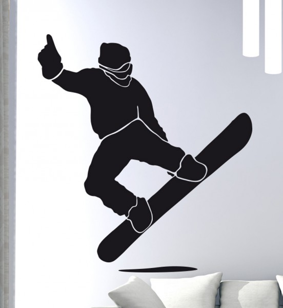 Wandtattoo Snowboarder Jump Motiv #124 - Schwarz