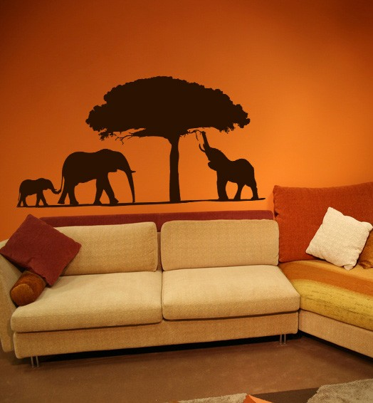 Wandtattoo XXL Afrika Elefanten 110 x 60cm Motiv #100