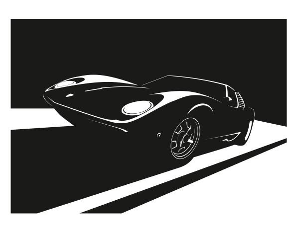 Wandtattoo Sportwagen Miura Motiv #403 - Schwarz