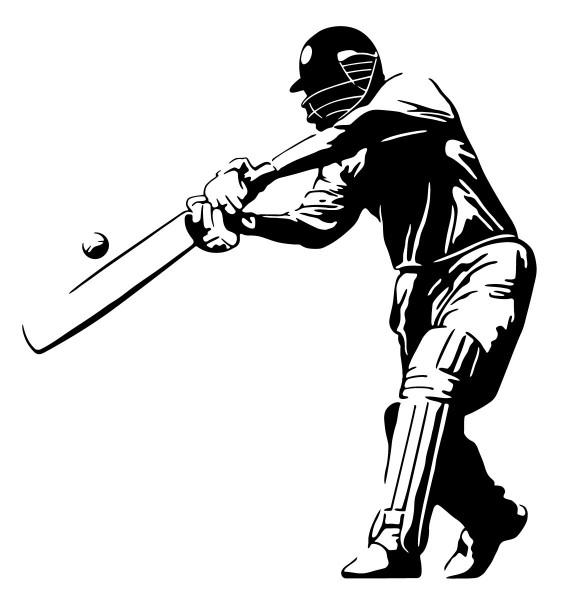 Wandtattoo Cricket Cricketspieler beim Abschlag #180