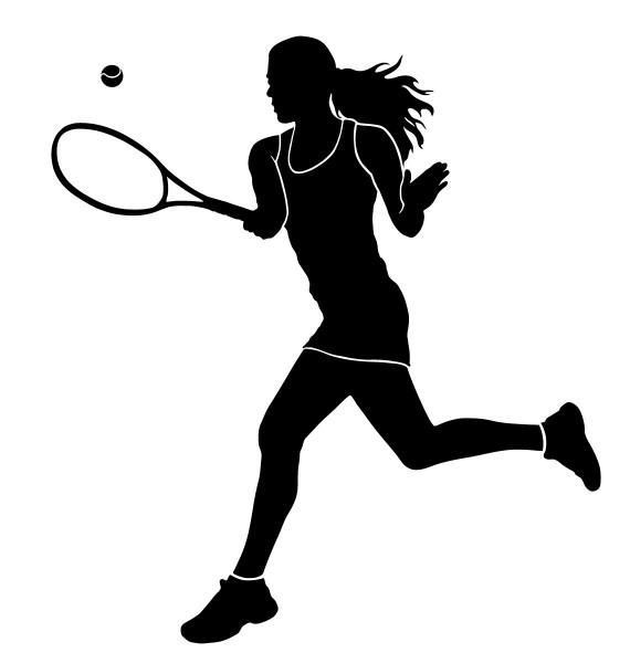 Wandtattoo Tennis Tennisspielerin beim Spiel #183