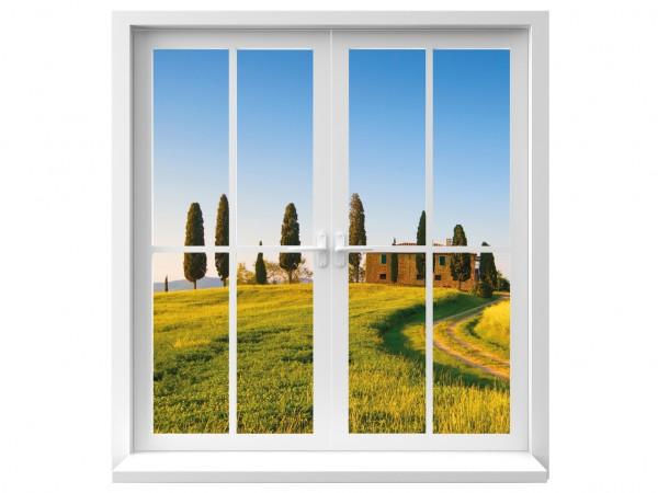 Fenster Ausblick in Landschaft farbig Motiv #127