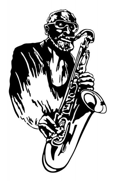 Wandtattoo Saxofonist Motiv #173 - Schwarz