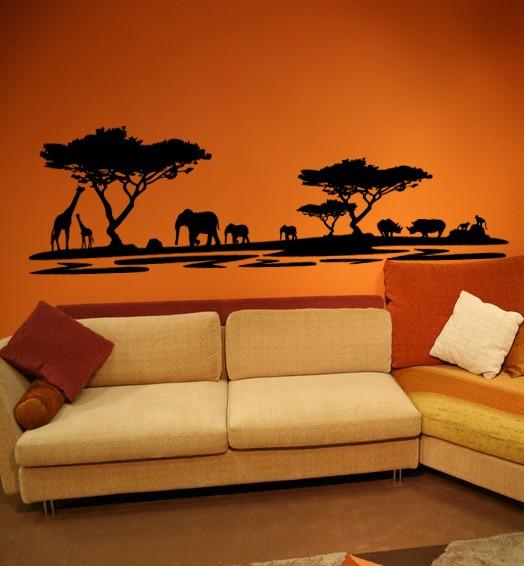 Afrika Elefanten Giraffen Nilpferde Motiv #72 - Schwarz