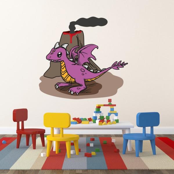 Drache Lila mit Vulkan farbig Motiv #153