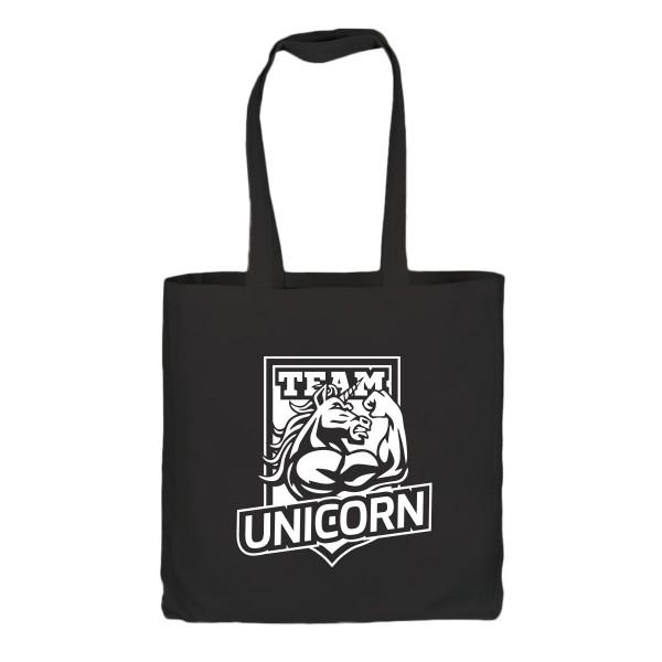 Unicorn Baumwoll-Beutel - schwarz