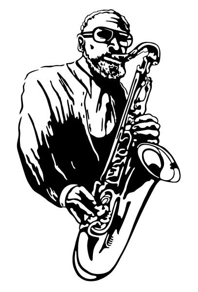 Wandtattoo Saxofonist Motiv #179