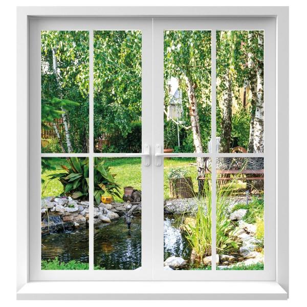 Wandtattoo Fenster Ausblick in Garten farbig Motiv #126