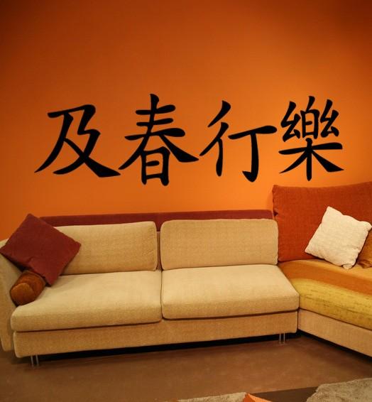 """Wandtattoo Chinesische Zeichen """"Carpe Diem"""" Motiv #111 - Schwarz"""