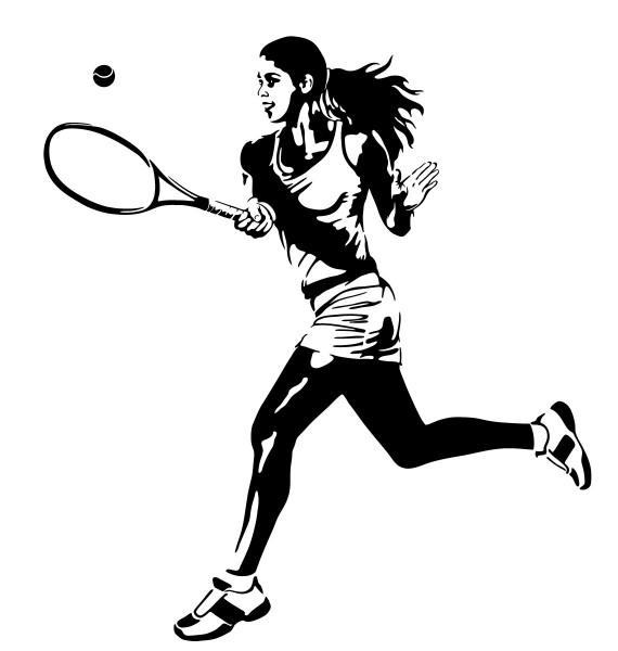 Wandtattoo Tennis Tennisspielerin beim Spiel #182
