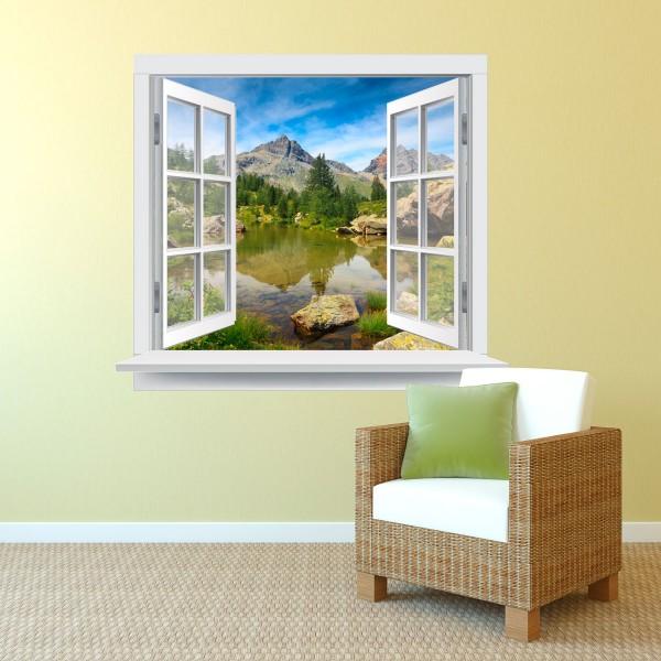 Fenster Berglandschaft farbig 120 x 102cm Motiv #135